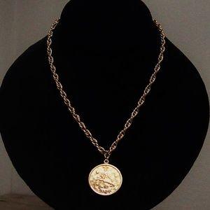 1970s Gold Plated LEO Horoscope Pendant Necklace
